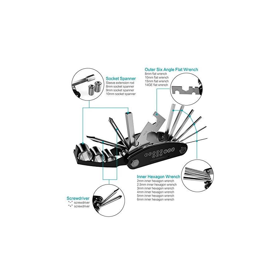 YOUYOUTE Bike Repair Tool Kits 16 in 1 Multi Function Bike Bicycle Cycling Repair Tool Glueless Puncture Repair Kit