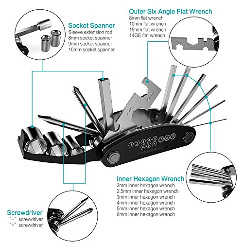Bike Repair Tool Kits YOUYOUTE 16 in 1 Multi Function Bike Bicycle Cycling Repair Tool Glueless Puncture Repair Kit