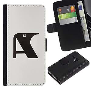 Billetera de Cuero Caso del tirón Titular de la tarjeta Carcasa Funda del zurriago para Samsung Galaxy S3 MINI NOT REGULAR! I8190 I8190N / Business Style A Raven Initial Letter Grey Black