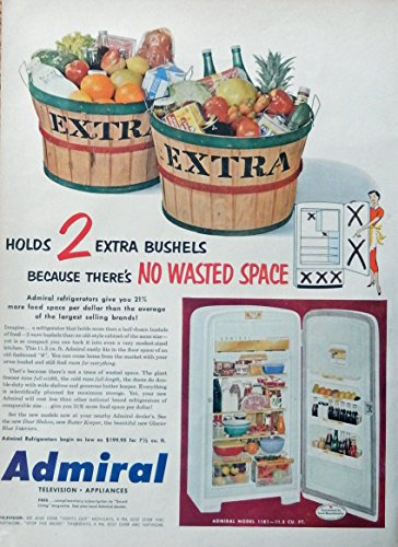 Vintage Ads Appliance (Admiral Appliances, print ad. Rare 50's Color Illustration (no wasted space) original 1951 Life Magazine Art)