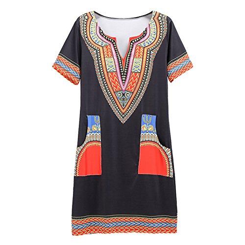 Femme Boho stampa Plus Juleya Size Hippie africana Summer Rosso Abbigliamento Vintage casual Abiti Sexy Women Mini Shirt 7SBYnSf