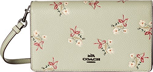 COACH Women's Floral Bow Fold-Over Crossbody Clutch Bp/Pale Green One Size
