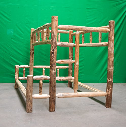 Log Bunk Bed - Midwest Log Furniture - Rustic Log Bunkbed - Full Over Queen