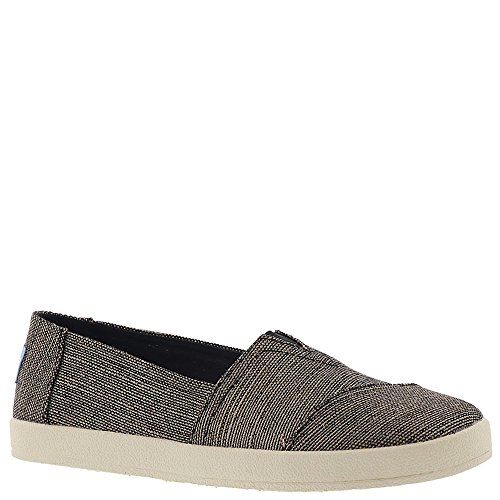 TOMS Women's Avalon Burlap Slip-On, Size: 8 B(M) US, Color: Black Metallic Woven (Black Tom Multi)