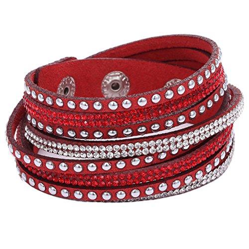 Morella Damen Armband Strass Glitzer Wickelarmband rot
