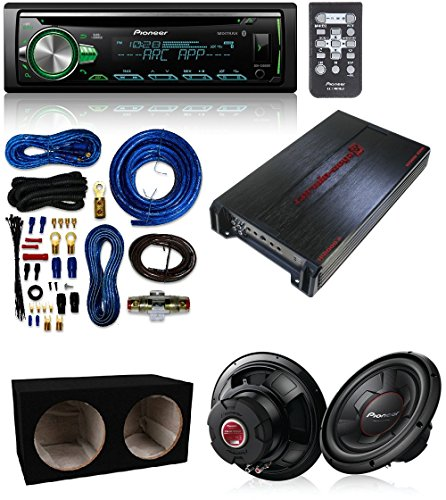 "Cerwin-Vega AB Amplifier, 2 Channels, 1100W Max + (2) Pioneer 1300 Watts 12"" Single 4 Ohm Car Subwoofer+ Pioneer CD Receiver with Bluetooth And AMP Kit"