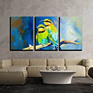 """wall26 - 3 Piece Canvas Wall Art - Original Oil Painting of Blue Tailed Bee Eaters, Song Birds on Canvas.Modern Impressionism - Modern Home Decor Stretched and Framed Ready to Hang - 16""""x24""""x3 Panels"""