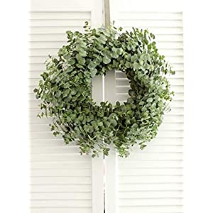 "Fresh Baby Blue Eucalyptus Wreath - 20"" (free shipping) Front Door 