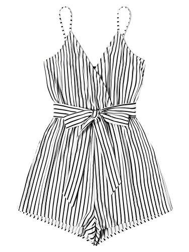 SweatyRocks Women's Sleeveless Striped Print V Neck Beach Shorts Romper Jumpsuit with Belt Black White L