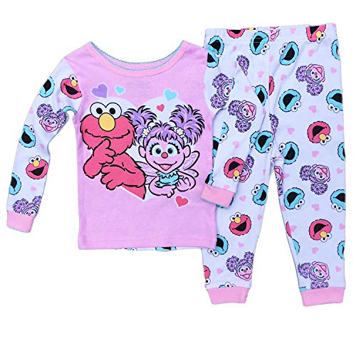Sesame Street Elmo Abby Baby Girls Cotton Pajama Set,Pink,24 Months