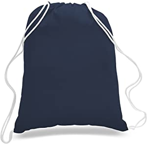 (12 Pack) 1 Dozen - Durable Cotton Drawstring Tote Bags (Navy)