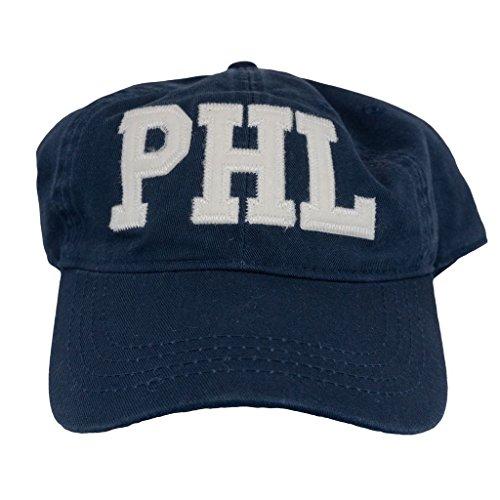 Cotton Adjustabe Fit Cap | Unconstructed | Low Profile PHL Philadelphia Airport Code Felt Logo Hat Navy (Best Chefs In Philadelphia)