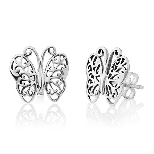 925 Sterling Silver Open Filigree Butterfly Animal lovers Post Stud Earrings 12 mm ()