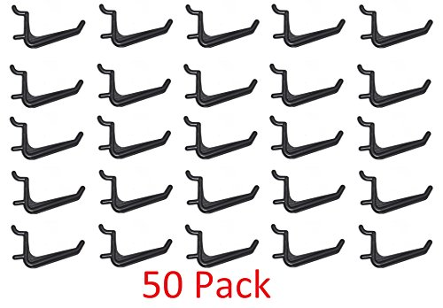 JSP Manufacturing 50 Pack Of JUMBO Pegboard Hooks Black Garage Tools Hammer Air Tool Storage Organization Jewelry