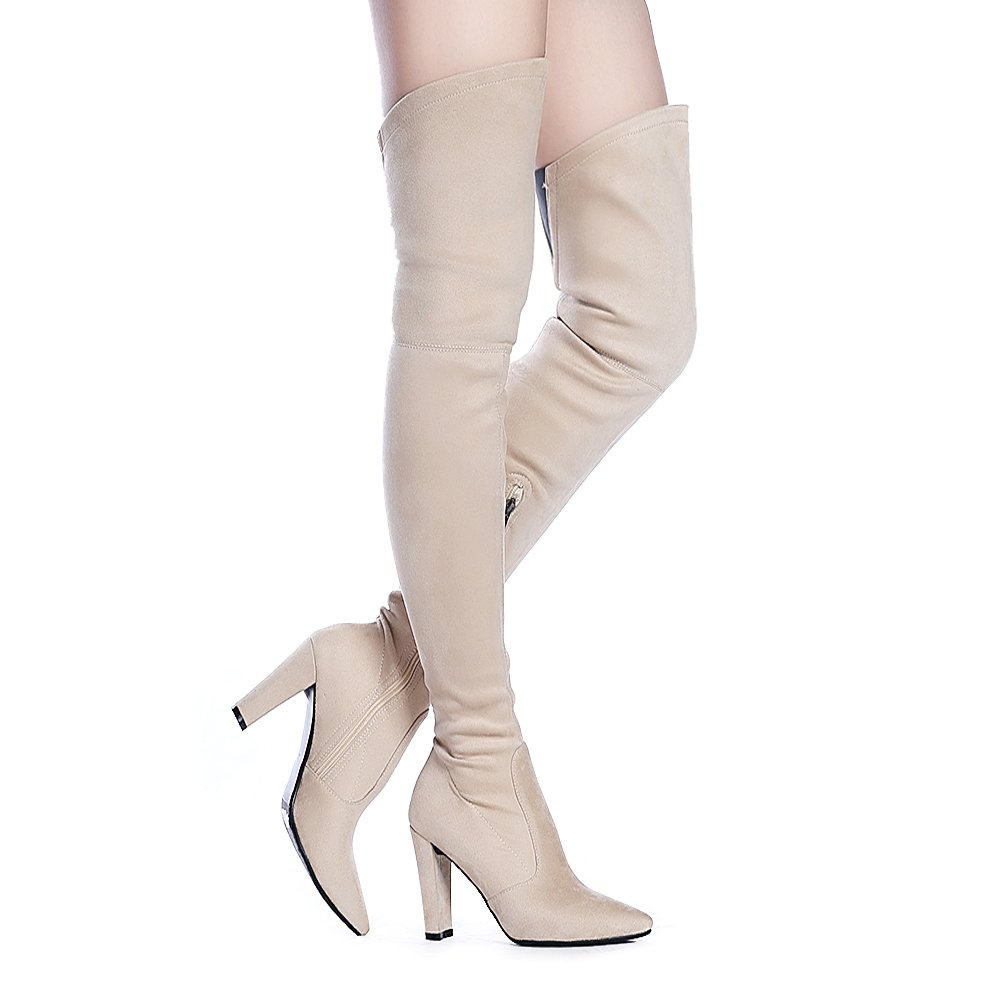 Shoe'N Tale Women Stretch Suede Chunky Heel Thigh High Over The Knee Boots (6.5 B(M) US, Nude)