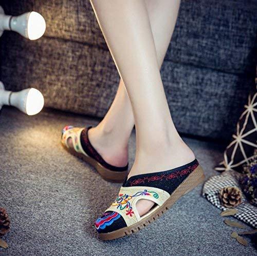 Bestickte Schuhe Sehnensohle ethnischer Stil weiblicher Flip Flop Mode Bequeme lässige Sandalen Schwarz 37 (Farbe   - Größe   -)