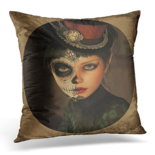 (Emvency Throw Pillow Covers Death 3D Computer Graphics of Girl with Sugar Skull Makeup and Topper Her Head Mask Decorative Pillows case Square Size 16 x 16 Inches Sofa Home)