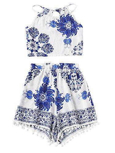 - SweatyRocks Women's 2 Piece Boho Floral Print Crop Cami Top with Shorts Set White Medium