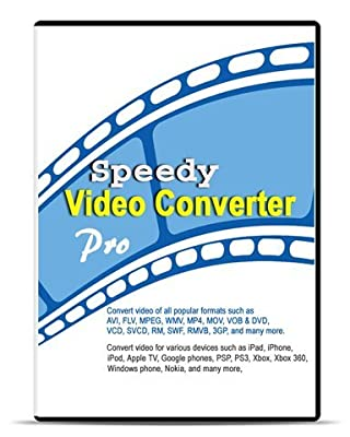 Speedy Video Converter Pro 4.10 (Download+CD): Converts videos for iPhone, iPad, and iPod; Converts videos of all popular formats such as AVI, FLV, MPEG, WMV, MP4, MOV, VOB & DVD, VCD, SVCD, RM, SWF, RMVB, and 3GP; includes iPhone video converter, iPad vi