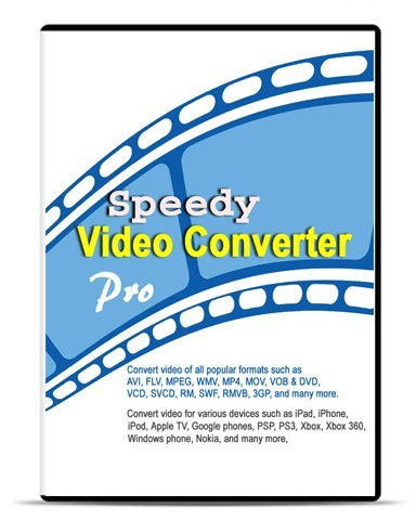 Speedy Video Converter Pro 4.10 (Download+CD): Converts videos for iPhone, iPad, and iPod; Converts videos of all popular formats such as AVI, FLV, MPEG, WMV, MP4, MOV, VOB & DVD, VCD, SVCD, RM, SWF, RMVB, and 3GP; includes iPhone video converter, iPad video converter, iPod converter, AVI converter, FLV converter, MP4 converter, MOV converter