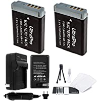UltraPro 2-Pack NB-13L High-Capacity Replacement Batteries with Rapid Travel Charger for Canon PowerShot G5x, G7x, G9x Digital Cameras - UltraPro Accessory Bundle Included