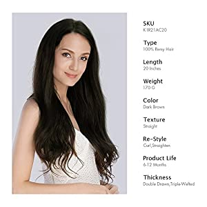 KINGHAIR Dark Brown(#2) Clip In Remy Hair Extensions - 20 Inches - 170G Full Head Set