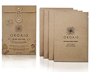 ORGAID Organic Sheet Mask | Made in USA (Anti-aging & Moisturizing, pack of 4)