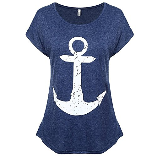 Sueetyus Women's Summer Boat Anchor Printing Short Sleeve T-Shirt Blouse Tank Tops A NavyBlue M