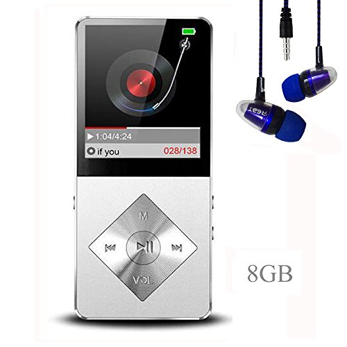 Mp3 player, Music Player, Hotechs Hi-Fi Sound , with FM Radio, Recording Function Build-in Speaker Expandable Up to 64GB with Noise Isolation Wired Earbuds (X03-Silver-8G)