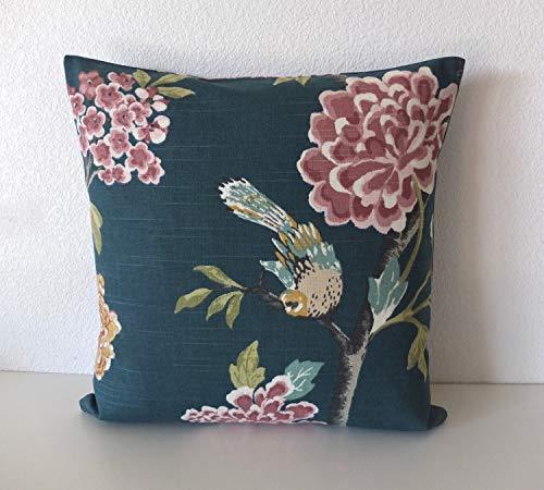 image 0 image 1 image 2 image 3 image 4 image 5  zoom Dwell Studio Helene Jade floral bird garden pillow cover ()