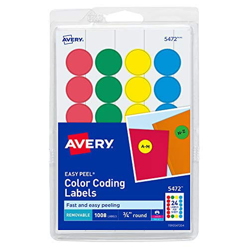 Avery Removable Print or Write Color Coding Labels, Round, 0.75 Inches, Pack of 1008 (5472)
