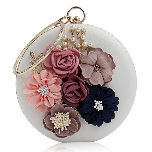 Borsa frizione circolari donna Lovely White da da sposa Rabbit Color fiori da borse di frizioni Gold sera per gqExn5E67