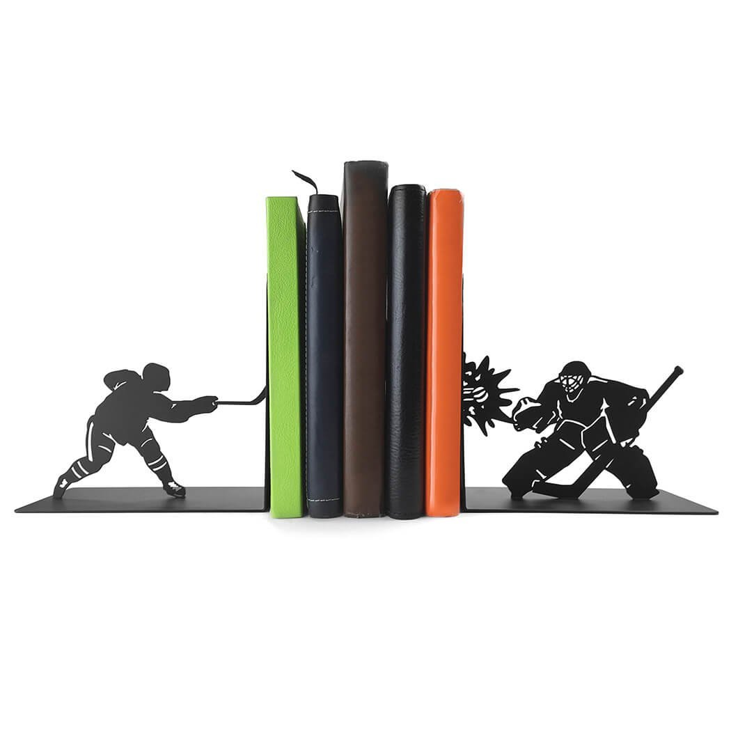 ChalkTalkSPORTS Hockey Metal Bookends | Decorative | Nonskid | Hockey Players | Great Room Decor for Kids Room