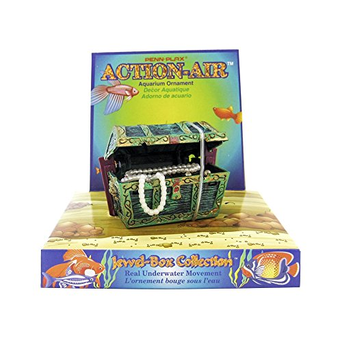 Penn Plax Aerating Action Ornament, Treasure Chest - Opens and Closes - Mini ()