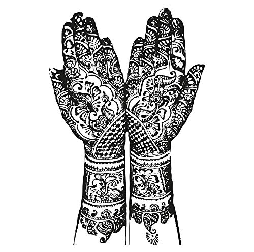Stickerbrand Henna Hands Wall Decal Home Decor. India Home Decor. (Black) 42in Tall X 27in Wide. #OS_AA383s ()
