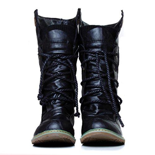 Coloré Femme Boots Chaussures Classiques Chaudes Botte (TM) Bottes Martin de locomotive Vintage Angleterre Noir dxRHmGAvr2