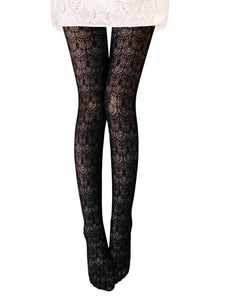 090bc33386e50 Vero Monte 1 Pair Women's Hollow Out Knitted Patterned Tights (Black) 4451