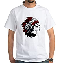 CafePress - Native American Chief With Red Headdress T-Shirt - 100% Cotton T-Shirt