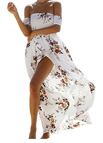 Vansha Women's Boho Off Shoulder Strapless Summer Beach Floral Slit Maxi Dress