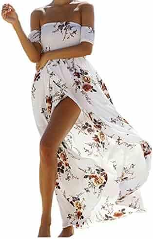 6013dcbe55 Vansha Women's Boho Off Shoulder Strapless Summer Beach Floral Slit Maxi  Dress
