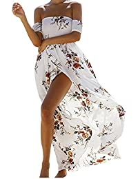 Women's Boho Off Shoulder Strapless Summer Beach Floral Slit Maxi Dress