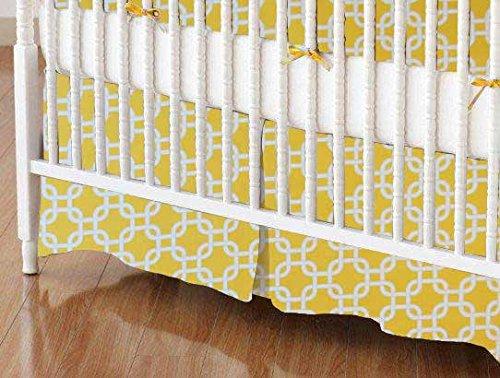SheetWorld - Crib Skirt (28 x 52) - Lemon Yellow Links - Made In USA