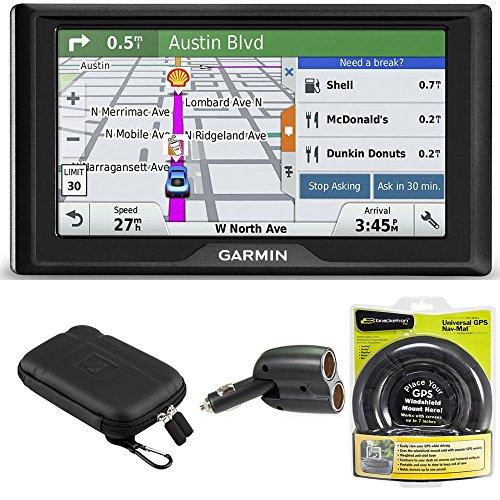 Garmin Drive 50LM GPS Navigator Lifetime Maps (US) 010-01532-0C Case + Mount + Charger Bundle includes GPS, 5-inch Soft Case, Nav-Mat Portable GPS Dash Mount and Dual 12V Car Charger by Garmin