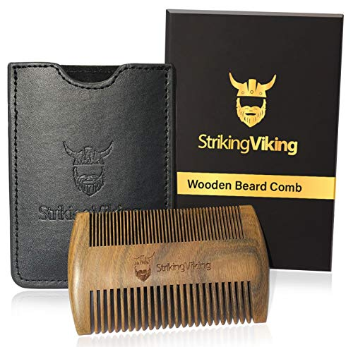 Wooden Beard Comb w/Black Case by Striking Viking - All Natural Sandalwood Pocket Comb with Fine & Coarse Teeth - Detangle and Style Beard Hair and Mustache - Use Dry or with Balms and Oils