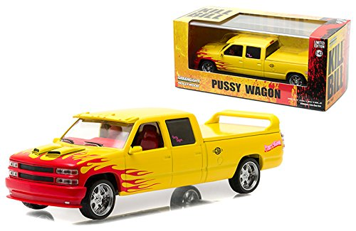- New 1:43 HOLLYWOOD - KILL BILL VOL. I & II CHEVROLET SILVERADO SS CUSTOM CREW CAB - PUSSY WAGON Diecast Model Car By Greenlight