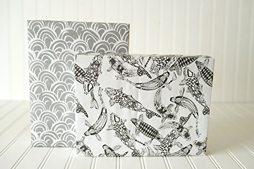 Black and White Koi Fish and Scales Designer Gift Wrap  -