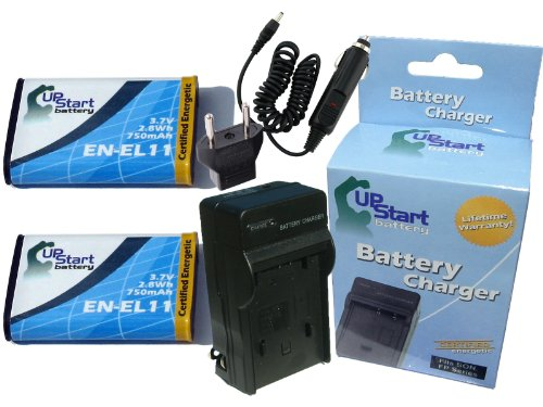 D-li78 Lithium Ion Battery - 2 Pack - Replacement for Pentax Optio W80 Battery + Charger with Car & EU Adapters - Compatible with Pentax D-LI78 Digital Camera Battery and Charger (750mAh 3.7V Lithium-Ion)