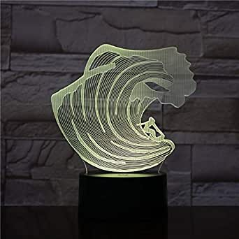 3D Night Light Multicolor Sea Wave 3D Lamp withOperated by Kids Optical 3D Night Light Lamp