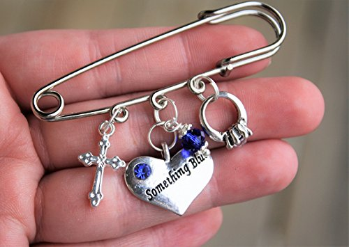 Religious Cross Something Blue Wedding Pin Gift, your choice of charms, guarder charm pin bride to be shower gift keepsake something new