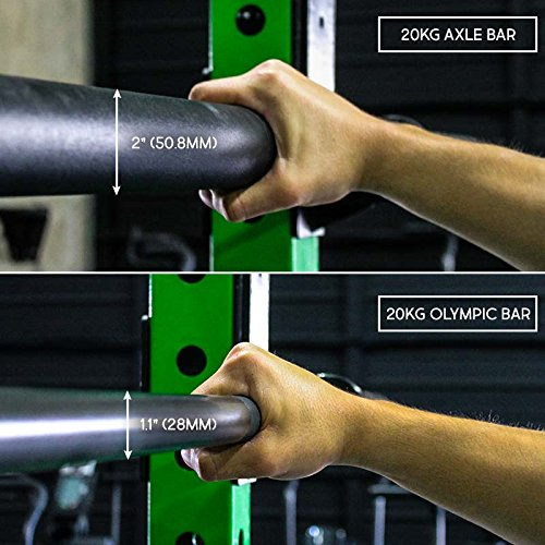 "20kg / 44lbs Axle Thick Barbell (""Fat Bar"") for Grip Strength and Strongman Training"